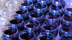 stemware with red and white wine - stock footage