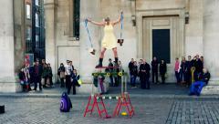 Street Performance, Acrobat, Circus artist Stock Footage