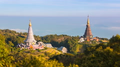 King and Queen Pagoda Of Doi Inthanon National Park ChiangMai, Thailand Stock Footage
