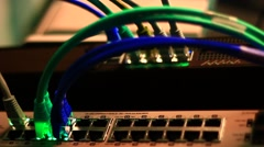 Working Ethernet switch in blue Stock Footage