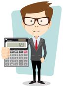 Businessman or Accountant with a Calculator, Vector Illustration Stock Illustration