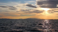 Sea Skyline With Clouds At Sunset - stock footage
