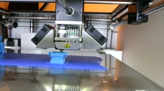 Three dimensional printer during work - stock footage