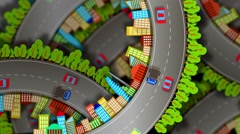 Seasons, abstract video of a city on the background of the site roads Stock Footage
