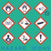 hazard icons - stock illustration