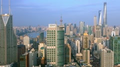 Aerial View, Panorama of Shanghai Skyline in Pudong District, China, BlackMagic Stock Footage