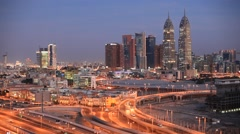 Dubai Media City at night Stock Footage