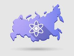 long shadow russia map icon with an atom - stock illustration