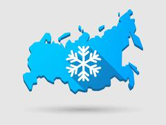 Long shadow russia map icon with a snow flake Stock Illustration