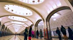 View of Mayakovskaya subway station. Stock Footage