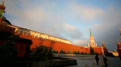 Pan view of Kremlin wall and mausoleum - stock footage