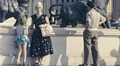 Nice 1956: people visiting Place Massena HD Footage