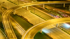 Night Time Lapse of Busy Hanoi Highway from Above - Ho Chi Minh City Vietnam Stock Footage