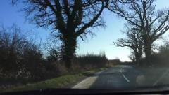 Driving POV Shot Sunlight English Winter Country Lane Stock Footage
