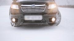 Subaru SUV at winter. Stock Footage