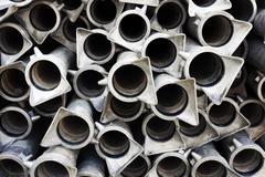 background of metallic tubes - stock photo