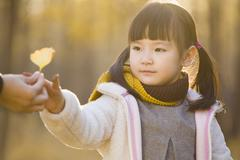 Stock Photo of Little girl reaching out to receive a leaf