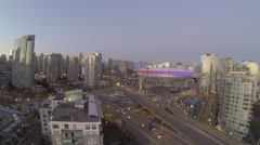 Pan from BC place cambie bridge to science world Stock Footage