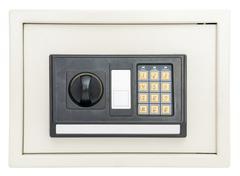 Closed electronic safe isolated on white Stock Photos