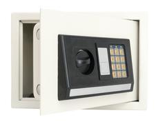 Open electronic safe  isolated on white Stock Photos