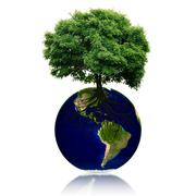 Small eco planet with tree and roots on it. Green Earth concept - stock illustration