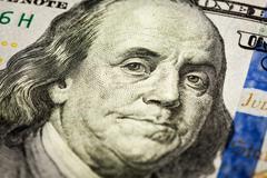 Benjamin Franklin portrait macro shot of 100 bill - stock photo