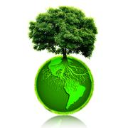 Small eco planet with tree and roots on it. Green Earth concept Stock Illustration