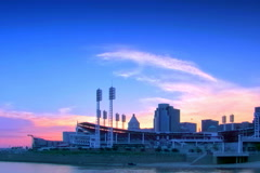 Cincinnati skyline and Ball Park at Sunset Stock Footage