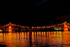 Cincinnati John A. Roebling Bridge at night Stock Footage