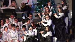 flute musicians and chorus at new year concert - stock footage