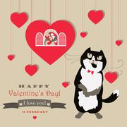Cute pair of birds and cat celebrating Valentine's Day Stock Illustration