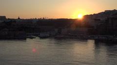 Naples Italy urban city center sunset sun flare 4K 080 Stock Footage