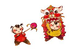 Stock Illustration of Traditional Chinese lion dance