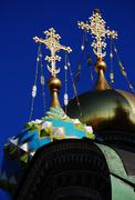 dome orthodox church with golden roods - stock photo
