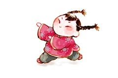Girl with Chinese traditional clothing Stock Illustration