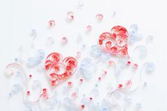 Heart shape made by ribbons Stock Photos