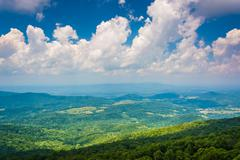 view from south marshall, along the appalachian trail in shenandoah national  - stock photo