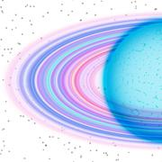 lalalalaPlanet with dusty ring in far universe, abstract - stock illustration