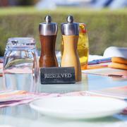 crop of restaurant table - stock photo