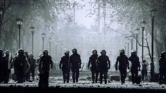 Riot Police Film style Stock Footage
