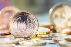 extremely close up view of european currency - stock photo