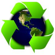 Stock Illustration of World globe or earth with recycle signs