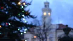 Town hall and christmas tree in the wind Stock Footage