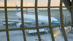 thay Pacific and British Airways Airliners in Suvarnabhumi International Airport - stock footage