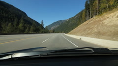 Mountain valley drive. TransCanada highway in the Rockies. British Columbia. Stock Footage