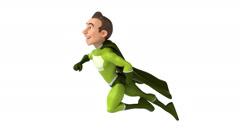 Green superhero flying Stock Footage