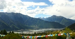 4k flying prayer flag & mountain in linzhi,the second city of tibet,bayi town. Stock Footage