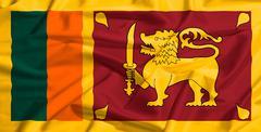 sri lanka flag on a silk drape waving - stock illustration