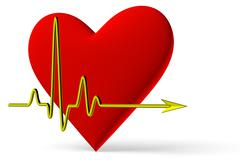 red heart symbol with pulse line diagonal view - stock illustration