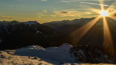 Dolomite Alps, winter cabin sunset time lapse HD Stock Footage